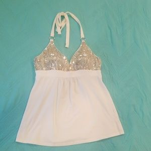 Victoria secret white sparkly halter top medium